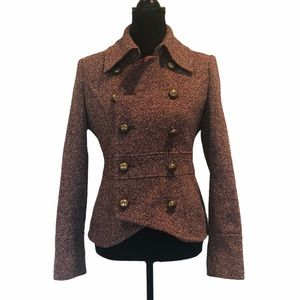 Guess tweed wool blend button front jacket